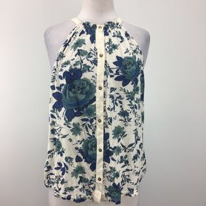 NWT Lucky Brand Sleeveless Button Up Floral Halter